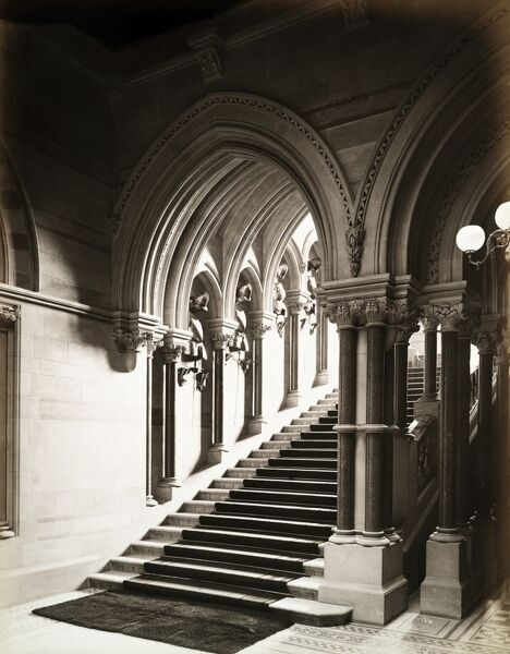 EATON HALL, Eaton, Cheshire. Interior view showing grand staircase. Photographed by Harry Bedford Lemere in 1887