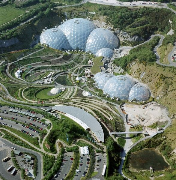 EDEN PROJECT, Cornwall. Aerial view