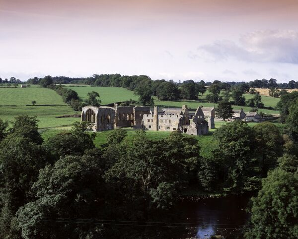 EGGLESTONE ABBEY, Durham. View from the North East showing the monastery and the River Tees