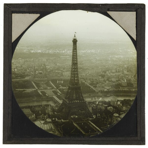 Eiffel Tower, Paris, taken from a tethered balloon. Shadbolt recorded this image as 'Photograph of Paris Exhibition with Eiffel Tower taken from captive balloon', dated to the final day of the Exposition Universelle - 6 November 1889