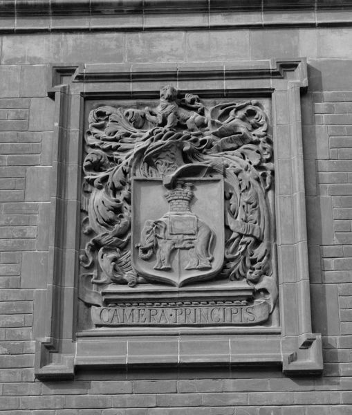 City And Guilds College, Imperial College Of Science And Technology, South Kensington, Greater London. Exterior detail showing a terracotta panel with an elephant and castle motif. Photographed by Eric de Mare (active 1945-80). Cropped image