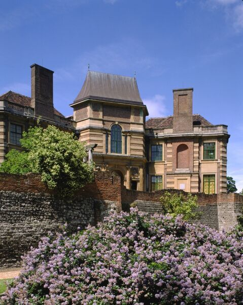 ELTHAM PALACE, Greenwich, London. View of the house from the dry moat
