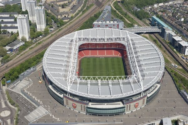 EMIRATES STADIUM, Arsenal, London. Aerial view. Opened in July 2006 as the replacement to Arsenal Football Club's historic home at Highbury. This 60, 000 all-seated stadium is located at Ashburton Grove. Photographed in May 2008