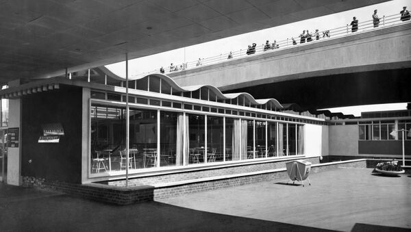 Festival of Britain, South Bank, Lambeth, London. Exterior view of the Thameside Restaurant at the Festival of Britain. Photographed in June 1951