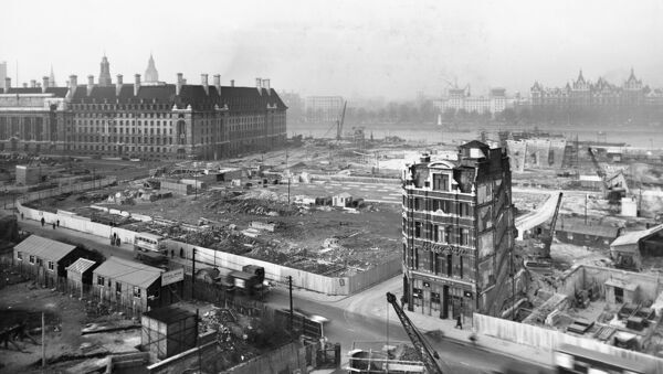 Festival of Britain, South Bank, Lambeth, London. General view of the upstream section of the 1951 Festival of Britain site under construction. Photographed in December 1949