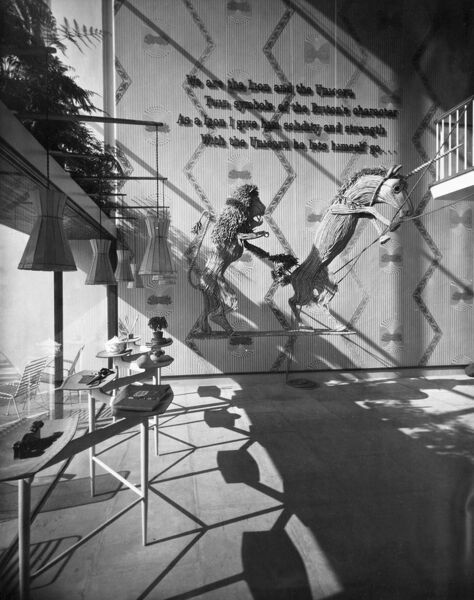 Festival of Britain, South Bank, Lambeth, London. The Lion and Unicorn Pavilion interior, showing rope models of the lion and the unicorn. Photographed in 1951