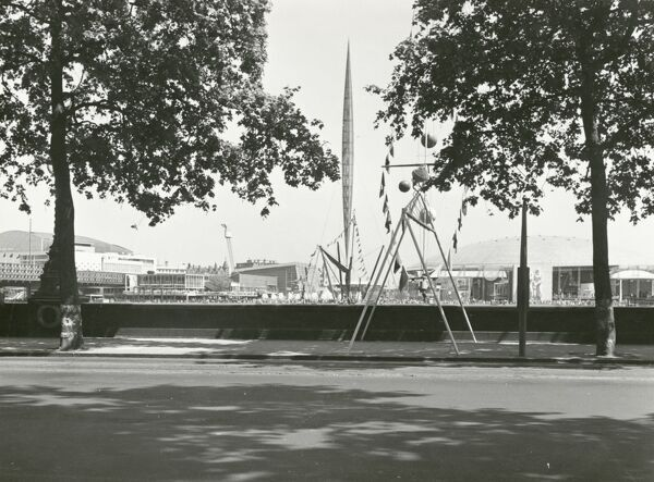 Festival of Britain, South Bank, Lambeth, London. A panorama of the upstream section of the South Bank Exhibition, Festival of Britain. Photographed in July 1951