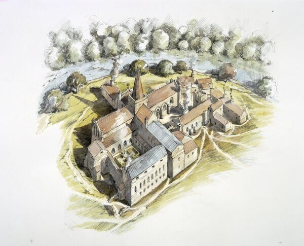 FINCHALE PRIORY, Durham. The Monastery in c.1530. Reconstruction drawing by Peter Dunn (English Heritage Graphics Team)