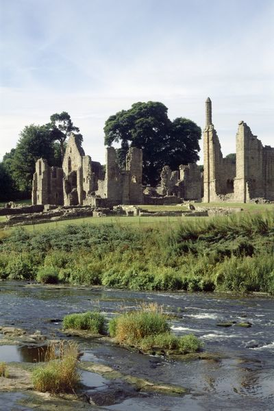 FINCHALE PRIORY, Durham. View of the 13th century priory from across the River Wear