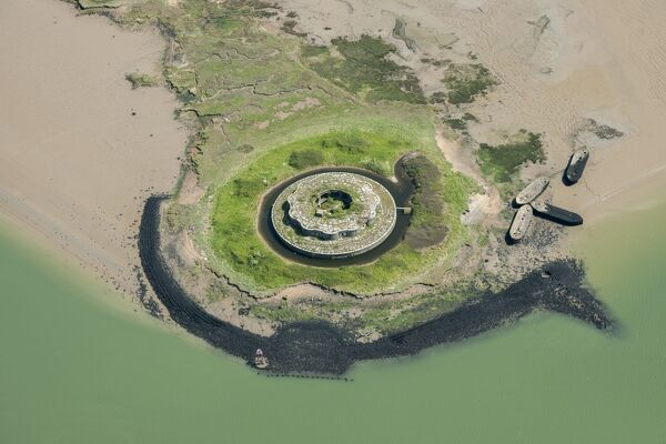 Fort Darnet, Kent. Aerial view of Fort Darnet, River Medway, Kent
