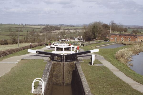 Staircase flight of 10 locks on the Grand Union Canal. Foxton, Leicestershire. IoE 191334