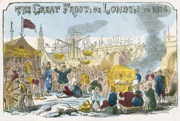 "RIVER THAMES, London. ""The Great Frost, or London in 1814"". Coloured woodcut engraving. From the Mayson Beeton Collection"