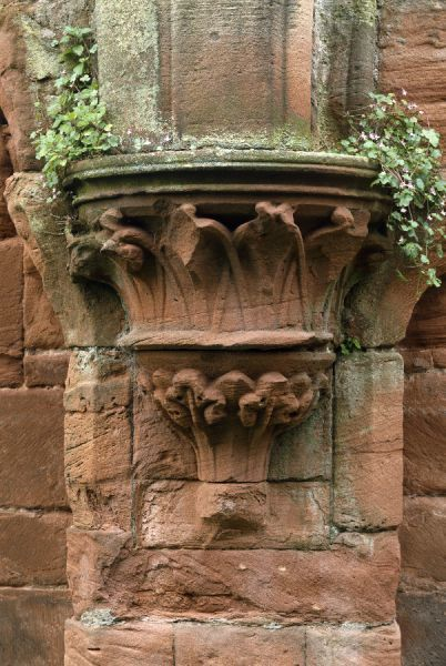 FURNESS ABBEY, Cumbria. Decorated stone corbel situated in the Dormitory undercroft