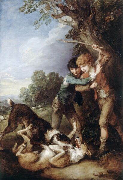 "KENWOOD HOUSE, THE IVEAGH BEQUEST, London. "" Two Shepherd Boys with Two Dogs Fighting "" c1783 by Thomas Gainsborough (1727-1788)"