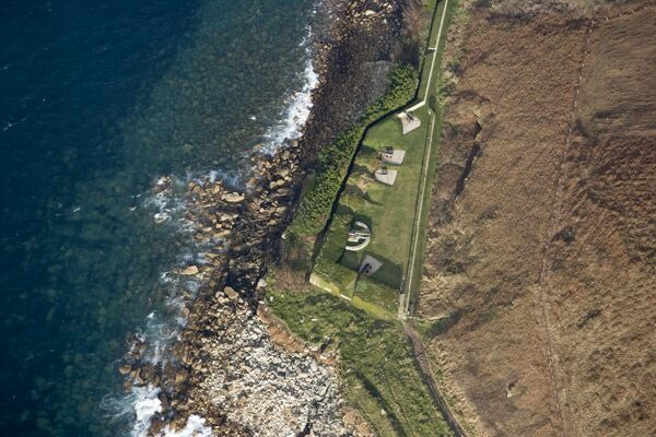 GARRISON WALLS, St Mary's, Isles of Scilly. Aerial view of King Charles Battery