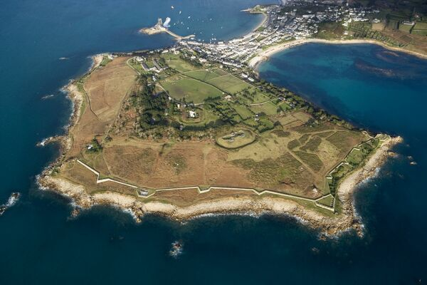 GARRISON WALLS, St Mary's, Isles of Scilly. Aerial view showing Garrison and Hugh Town from the South