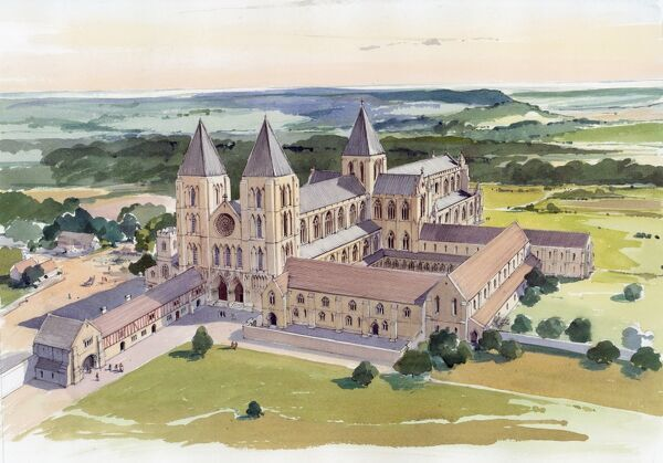 GISBOROUGH PRIORY, Guisborough, Cleveland. Reconstruction drawing by Terry Ball depicting an aerial view of Gisborough Priory, as seen from the south-west and as it may have appeared in the early fifteenth century