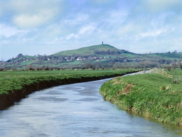 GLASTONBURY TOR, Somerset. View of the Tor from Butt Moor Bridge. Reputedly the Isle of Avalon