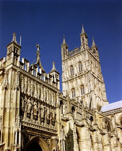 GLOUCESTER CATHEDRAL, Gloucestershire. Detail of the crossing tower from the south west