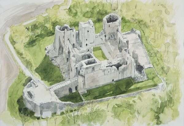 GOODRICH CASTLE, Herefordshire. Present day aerial view painting by Liam Wales