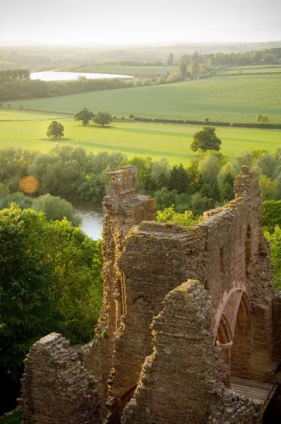 GOODRICH CASTLE, Herefordshire. View from the keep showing the north range and rural scenery beyond