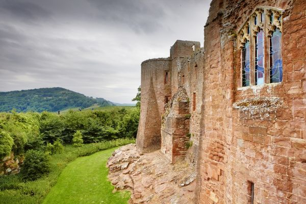 GOODRICH CASTLE, Herefordshire. View of the Chapel window from the approach causeway