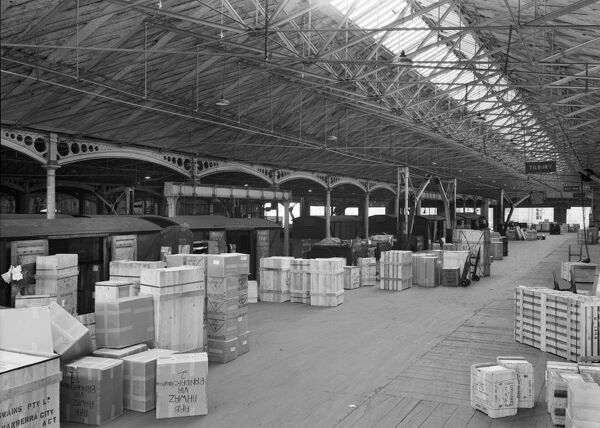 Curzon Street Station, Birmingham. A goods train at the platform in the 'Export Sheds'. Photographed in 1964