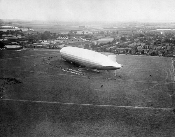 The Graf Zeppelin moored at Hanworth Aerodrome, London Air Park in July 1932