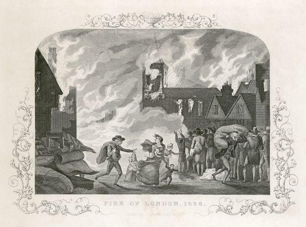 MAYSON BEETON COLLECTION. Great Fire of London 1666. Engraving from the Mayson Beeton Collection