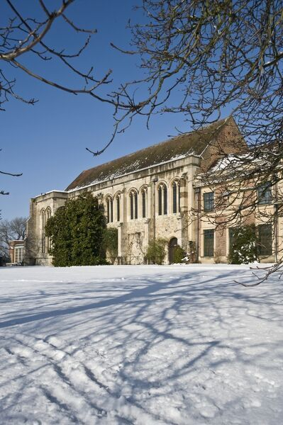 ELTHAM PALACE, London. View of the Great Hall with snow on the ground