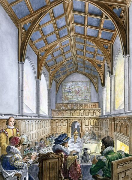 OLD WARDOUR CASTLE, Wiltshire. Reconstruction drawing by Philip Corke of an Elizabethan banquet in the Great Hall