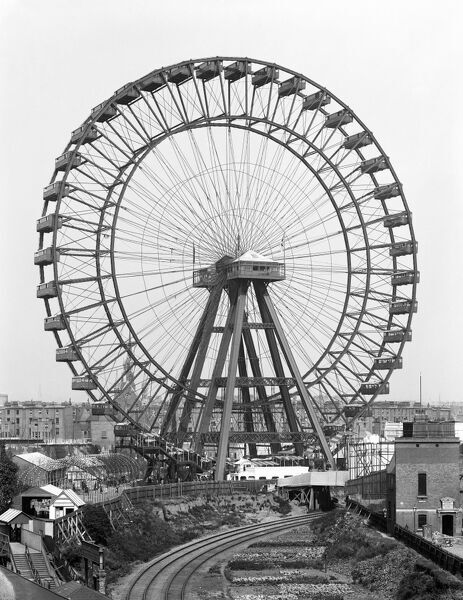 GREAT WHEEL, Earls Court, London. A view from the railway of the 310 feet high wheel with the entertainment grounds beneath (photo taken late 19th century). The grounds were a feature of Earl's Court from 1887 until 1914. York and Son