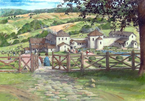 GREAT WITCOMBE ROMAN VILLA, Gloucestershire. Reconstruction drawing by Ivan Lapper showing the Roman Villa built in c.AD 250