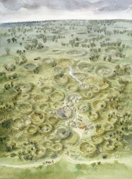 GRIMES GRAVES, Norfolk. Aerial view reconstruction drawing of Grimes Graves in circa 2000 BC by Judith Dobie (English Heritage Graphics Team)
