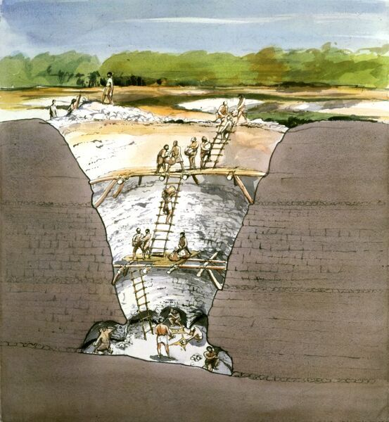 GRIMES GRAVES, Norfolk. 1994 cutaway reconstruction drawing of Prehistoric flint mining by Terry Ball (English Heritage Graphics Team). Recent evidence suggests that ladders may not have been used