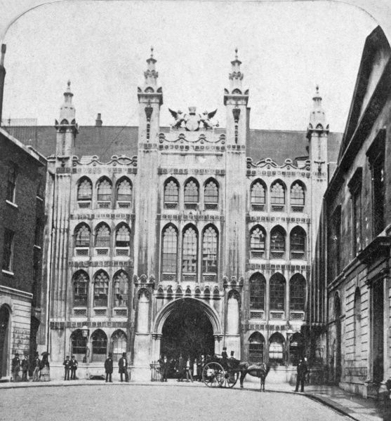 THE GUILDHALL, City of London. The Guildhall has been the administrative headquarters of the City of London since at least the mid-12th century. The present Great Hall was built in 1411-1430, re-faced by George Dance in 1788. Photographed in the 1860s