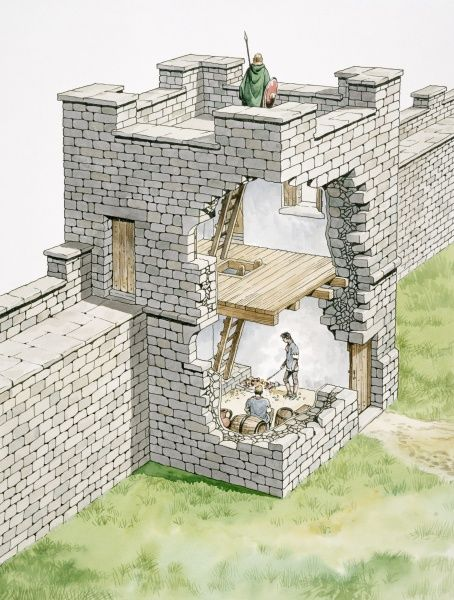 HADRIAN'S WALL: BANKS EAST TURRET, Cumbria. Cutaway reconstruction drawing by Philip Corke
