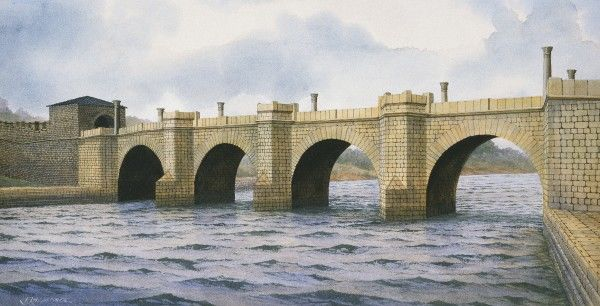 HADRIAN'S WALL: CHESTERS BRIDGE ABUTMENT, Chollerford, Northumberland. Reconstruction drawing by Frank Gardiner. hadrian