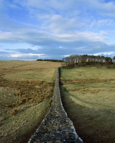 HADRIAN'S WALL: HOUSESTEADS FORT (VERCOVICIUM), Northumberland. A view along the wall looking towards Knag Burn Gate. hadrian