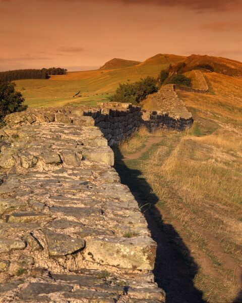 HADRIAN'S WALL: CAWFIELDS, Northumberland. A sunlit view along the wall. hadrian