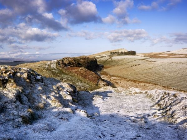 HADRIAN'S WALL, Northumberland. General view of the wall showing a light scattering of snowfall on the ground