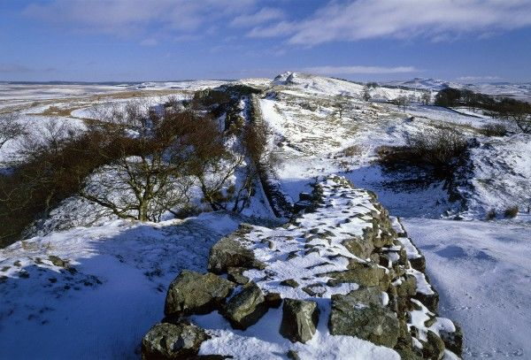HADRIAN'S WALL: WALLTOWN CRAGS, Northumberland. View from Walltown Crags showing the snow covered wall. hadrian