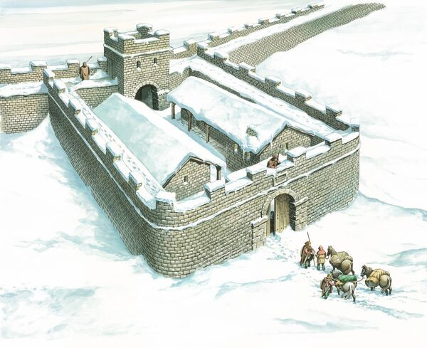 HADRIAN'S WALL: WINSHIELDS MILECASTLE, Northumberland. Aerial reconstruction of the milecastle in the snow by Philip Corke. hadrian