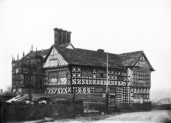 Hall i' th' Wood, Hall i' th' Wood Lane, Bolton. The tudor manor house was restored in 1899 and given to the Corporation of Bolton. It is now a museum. Photographed in the 1890s for the London Midland and Scottish Railway