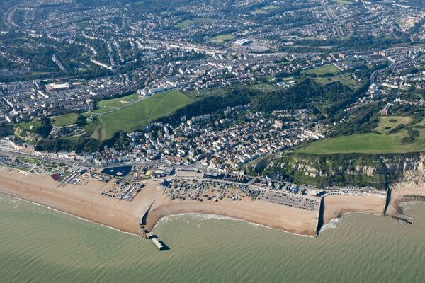 Hastings, East Sussex. Aerial view of the historic town, which was one of the medieval Cinque Ports. Photographed in September 2015