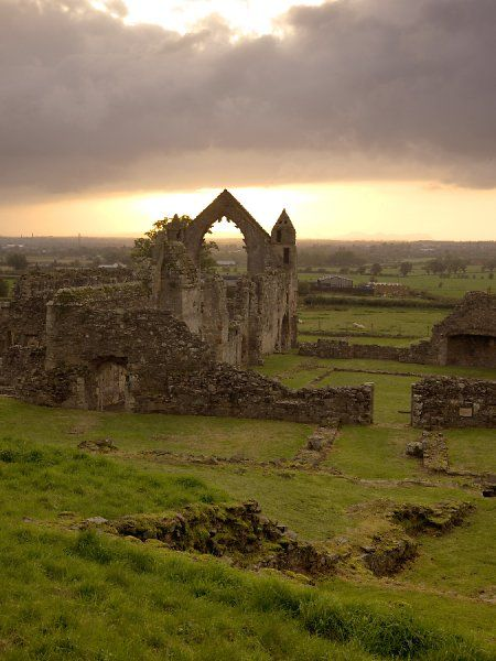 HAUGHMOND ABBEY, Shropshire. The Abbot's Hall at sunset