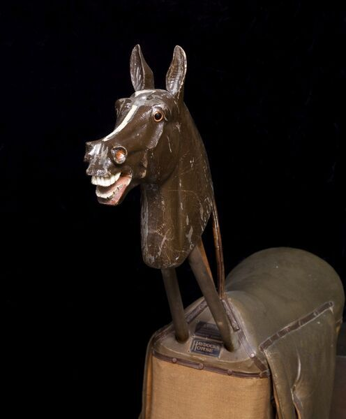 BRODSWORTH HALL, South Yorkshire. Haydocks exercise horse, detail of horse head and saddle from the front