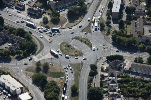 Headington Roundabout, Oxford. Aerial view in 2015