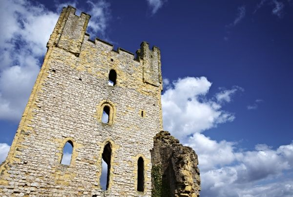 HELMSLEY CASTLE, North Yorkshire. Detailed view of the East Tower