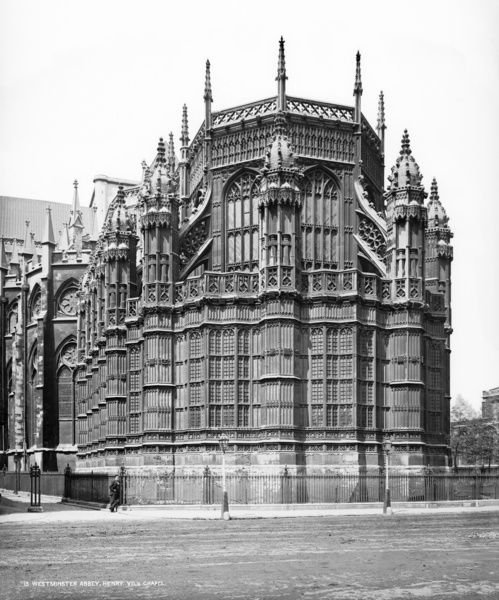WESTMINSTER ABBEY, Westminster, London. An exterior view of the Henry VII Chapel from the south-east. Building work was begun by Henry VII in 1503 and was finished by his son, Henry VIII. Photograph by York and Son (1870-1900)